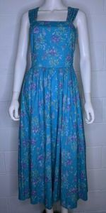 Laura Ashley 10 Dress Floral Bow Pleated Vintage